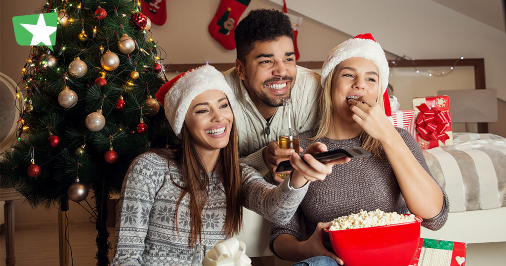 friends watching a christmas movie